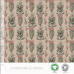 FLOWERFEST - CAPPUCCINO ORGANIC COTTON JERSEY BY ELVELYCKAN DESIGN