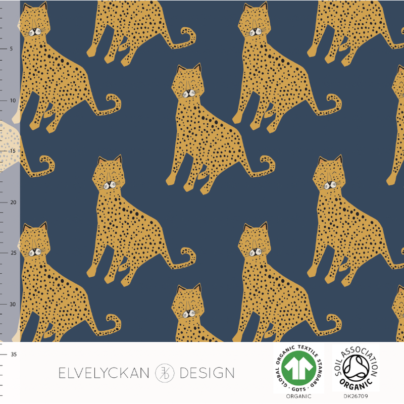 LEOPARD - DARK BLUE ORGANIC COTTON JERSEY BY ELVELYCKAN DESIGN