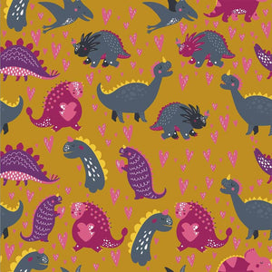 PRESALE! DINOS IN MUSTARD ORGANIC COTTON JERSEY