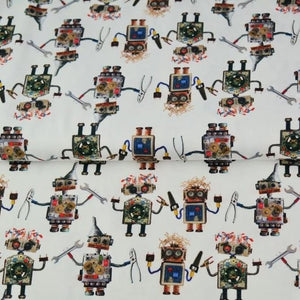 ROBOTS IN WHITE COTTON JERSEY