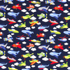 RAINBOW AEROPLANES IN NAVY COTTON JERSEY - Lilly and Mimi Fabric Shop