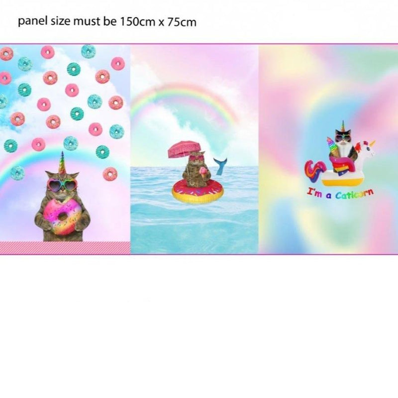 CATICORN RAINBOW PANEL COTTON JERSEY