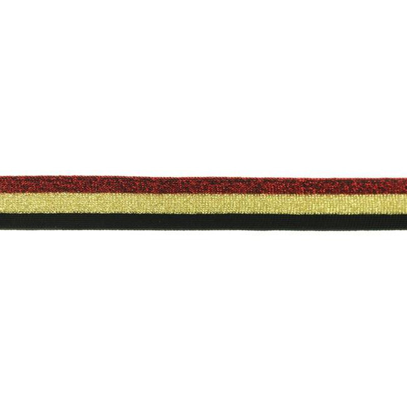 Red, Gold and Black Lurex Side Stripes width - 25 mm