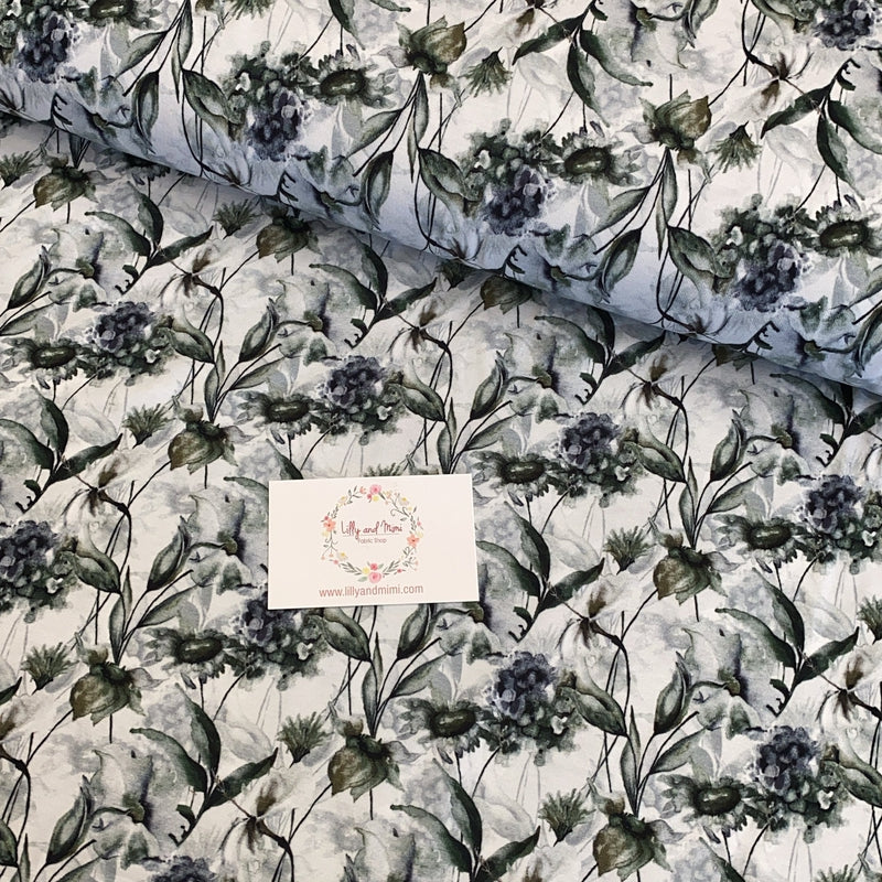 Watercolour Blue Flowers Cotton Jersey - Lilly and Mimi Fabric Shop