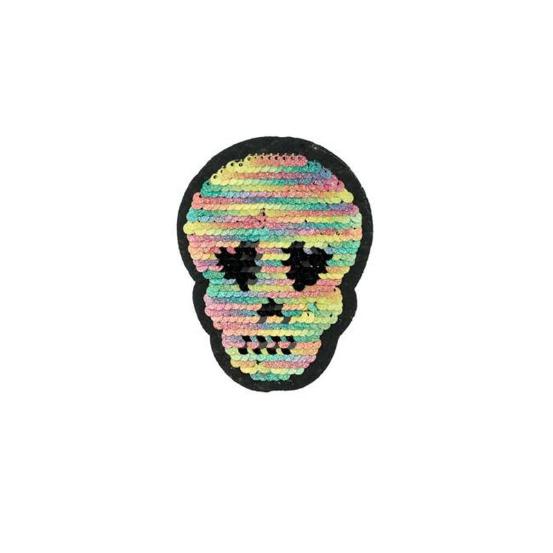 RAINBOW SKULLS REVERSIBLE PATCHES - Lilly and Mimi Fabric Shop