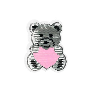 TEDDY BEAR HEART REVERSIBLE PATCHES - Lilly and Mimi Fabric Shop