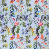 CREPE FABRIC DIGITAL PRINTED FLOWERS AND INSECTS LIGHT BLUE