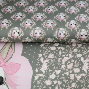Baby Bunny with Flower in Grey Cotton Jersey PANEL