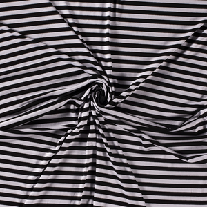 BLACK AND WHITE 1 CM WIDE STRIPE YARN DYED VISCOSE JERSEY