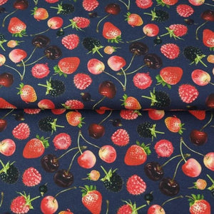 BERRIES PRINT IN NAVY COTTON JERSEY