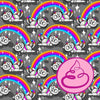 RAINBOW UNICAT MONOCHROME ORGANIC COTTON JERSEY BY NORDANRO DESIGN - Lilly and Mimi Fabric Shop