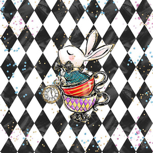PRESALE! ALICE WONDERLAND RABBIT CHECK PANEL FRENCH TERRY 40 x 50 cm
