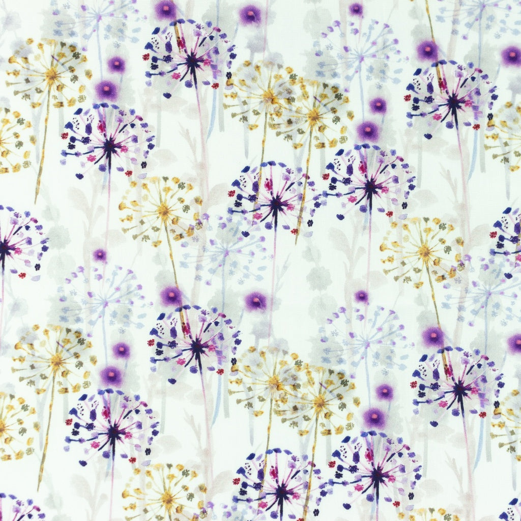 Dandelion Digital Print Cotton Poplin - Lilly and Mimi Fabric Shop