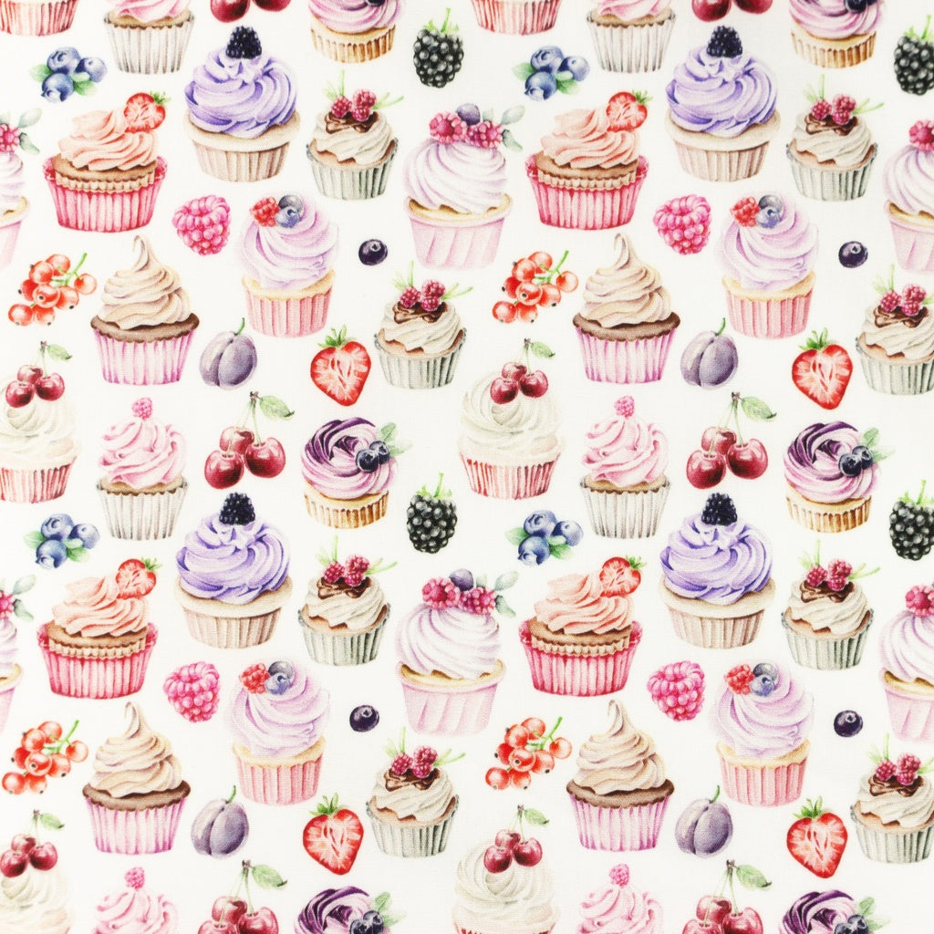 Cupcakes Digital Print Cotton Poplin - Lilly and Mimi Fabric Shop
