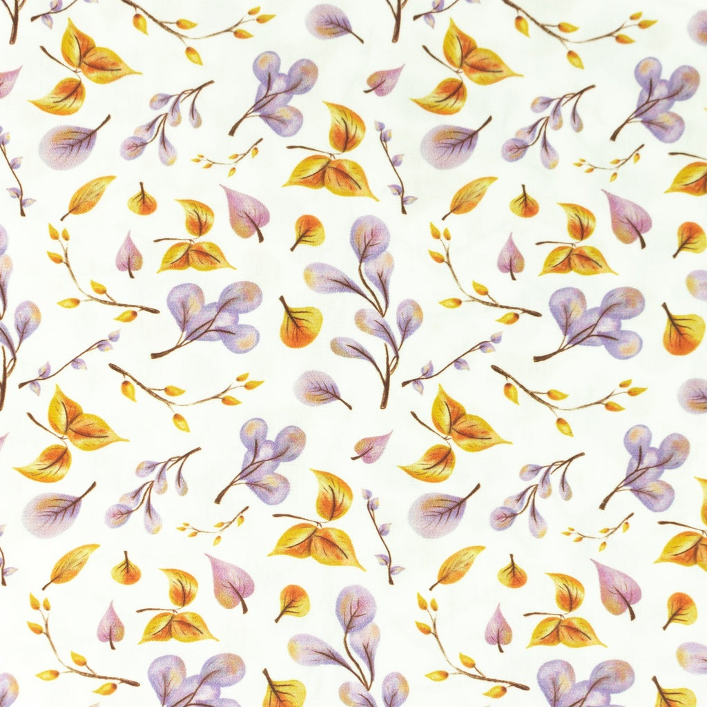 Watercolour Leaves Digital Print Cotton Poplin - Lilly and Mimi Fabric Shop