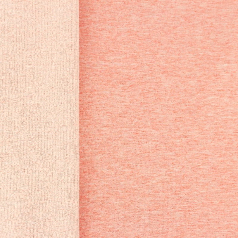 Solid French Terry Knit Fabric - Light Melange Coral - Lilly and Mimi Fabric Shop