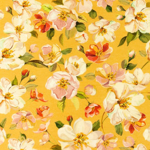 Wild Roses in Mustard Cotton Jersey - Lilly and Mimi Fabric Shop