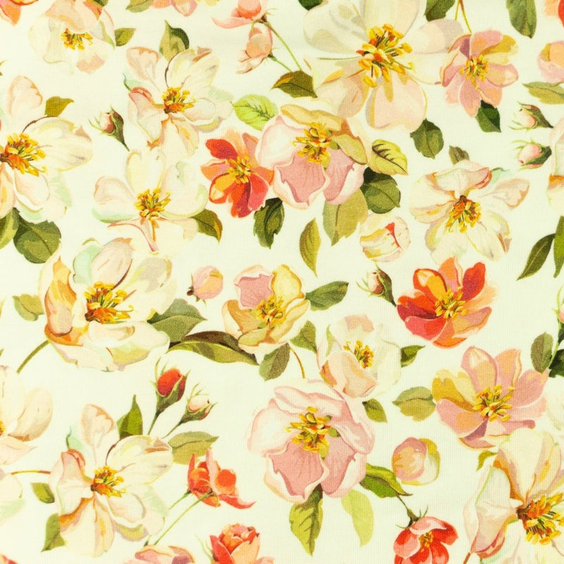 Wild Roses in Off White Cotton Jersey - Lilly and Mimi Fabric Shop