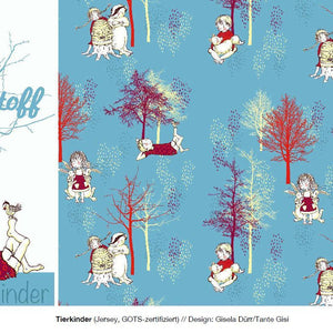 Tierkinder Organic Cotton Jersey by Lillestoff - Lilly and Mimi Fabric Shop UK