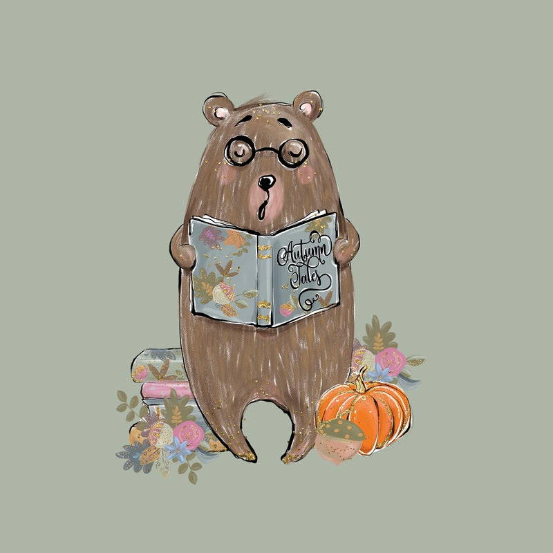 Autumn Tales Bear French terry Panel 40 x 50 cm