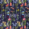 CREPE FABRIC DIGITAL PRINTED FLOWERS AND INSECTS NAVY