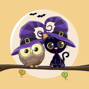 PRESALE! BLACK CAT WITH OWL HALLOWEEN PANEL FRENCH TERRY 40 x 50 cm