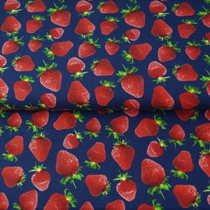 STRAWBERRIES IN NAVY COTTON JERSEY