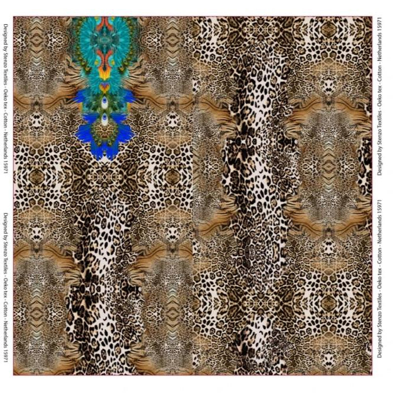 PEACOCK AND LEOPARD DIGITAL PRINT COTTON JERSEY PANEL