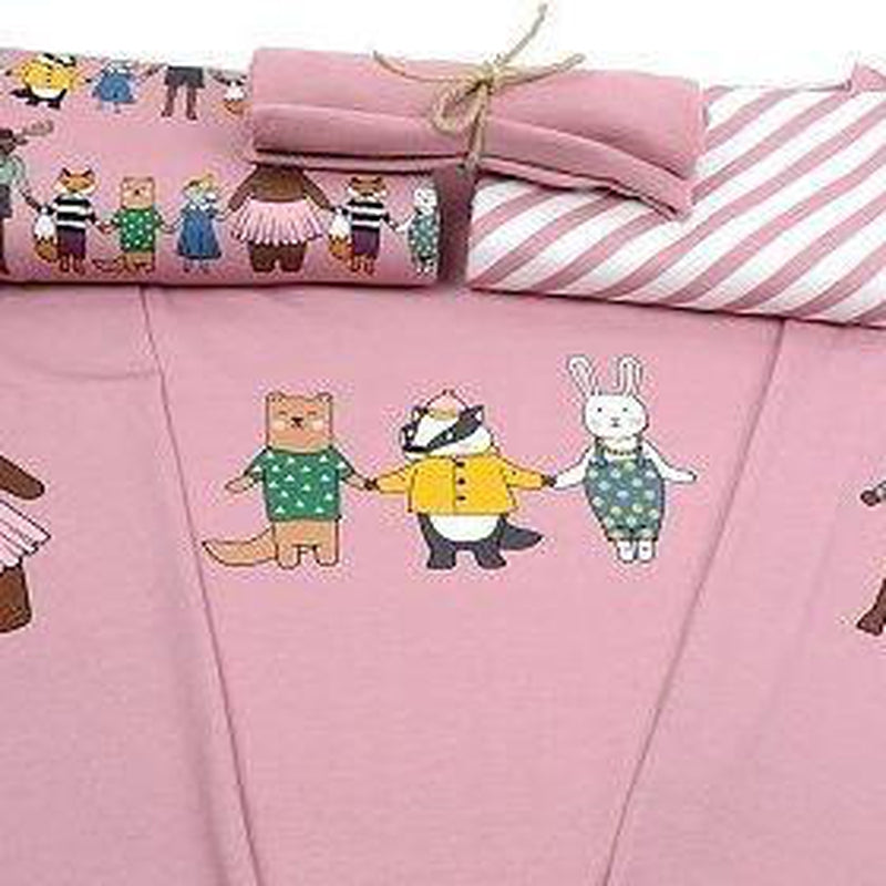 Forest Friends in Old Rose PANEL Organic Cotton Jersey by Tygdrömmar