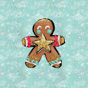 Gingerbread Man in Mint French terry Panel 40 x 50 cm