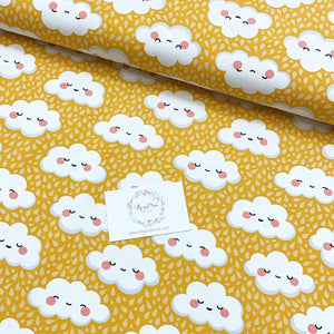 Cute Clouds in Yellow Cotton Jersey - Lilly and Mimi Fabric Shop