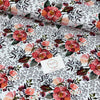 PINK ROSES IN WHITE ORGANIC COTTON JERSEY - Lilly and Mimi Fabric Shop