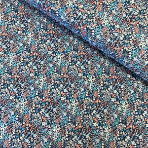 SMALL FLOWERS IN BLUE VISCOSE WOVEN POPLIN