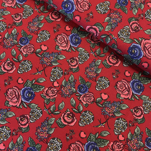 SKULLS AND ROSES IN BORDEAUX COTTON POPLIN FABRIC