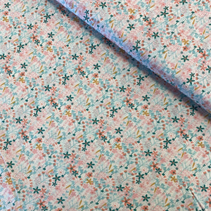 SMALL FLOWERS IN PASTEL VISCOSE WOVEN POPLIN