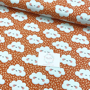 Cute Clouds in Orange Cotton Jersey - Lilly and Mimi Fabric Shop