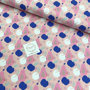 PEACH AND APPLE IN PINK ORGANIC COTTON JERSEY