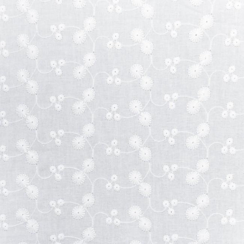 Little Daisy Cotton Embroidery Fabric Off White