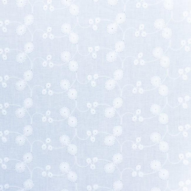 Little Daisy Cotton Embroidery Fabric White - Lilly and Mimi Fabric Shop