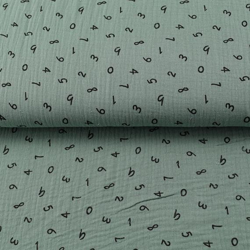 Numbers in Dark Mint Colour Double Gauze Fabric