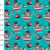 Organic Cotton jersey Fabric - Wilson in Turquoise and Red by Paapii Design