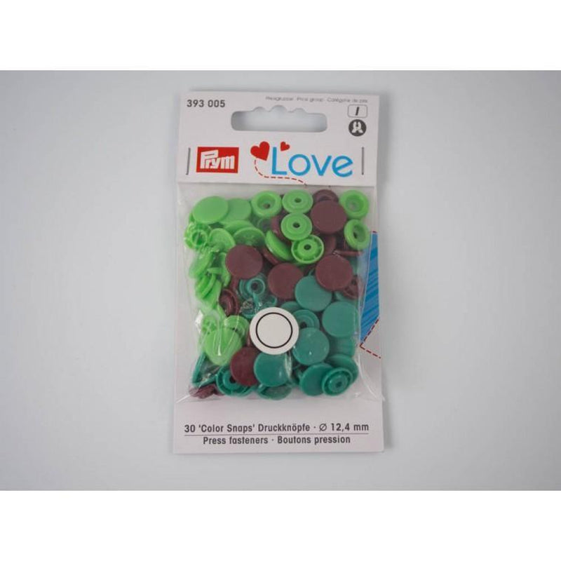 PRYM Love, plastic fasteners 12,4 mm - 30 sets - green / turqoise / brown - Lilly and Mimi Fabric Shop