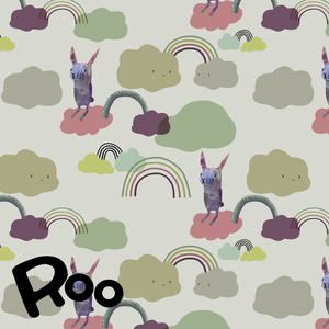 Story of Roo Organic Cotton Jersey - Under the Rainbow Grassy