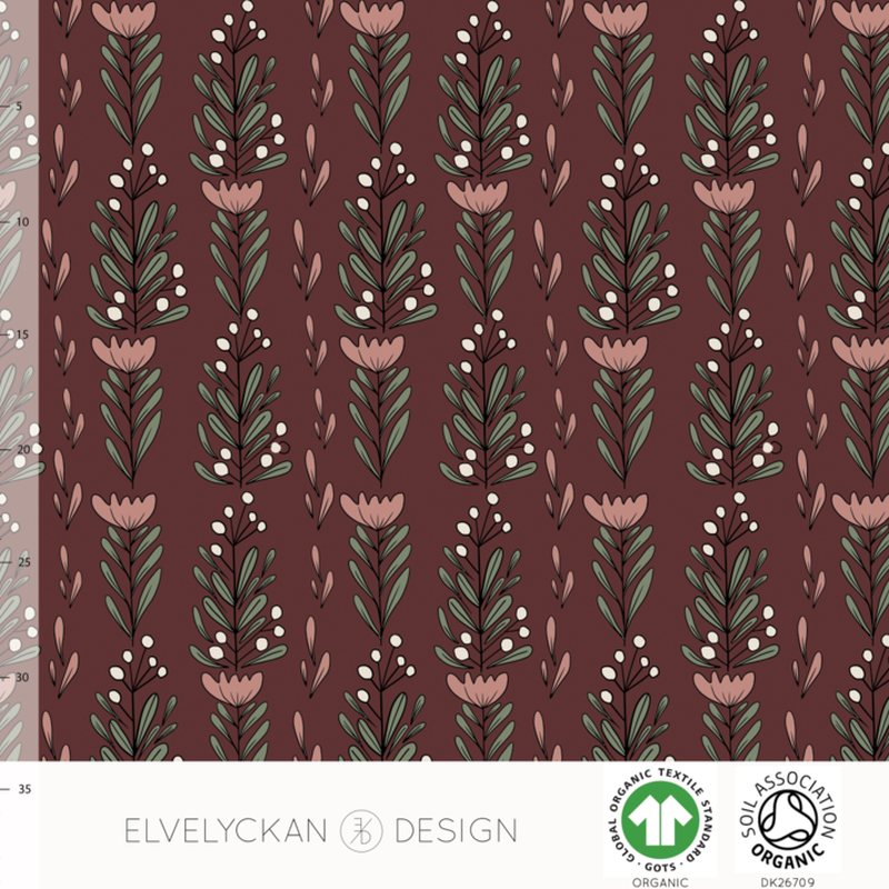 FLOWERFEST - WINE ORGANIC COTTON JERSEY BY ELVELYCKAN DESIGN