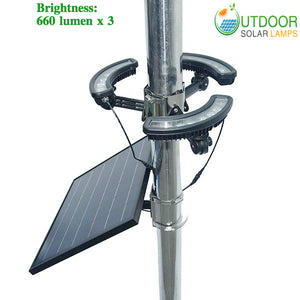 Commercial triune solar flagpole Light W/1980lm & 16W panel