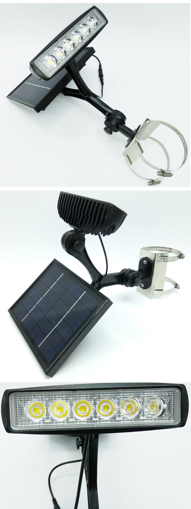Wide angle commercial solar flagpole light W/660 lumen