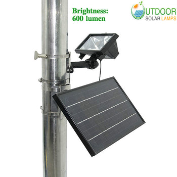 Commercial solar flagpole light with 600lm & 10W panel