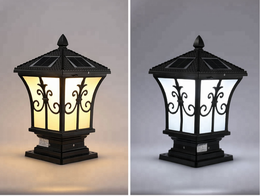Solar Powered European Style Gate Post Light