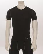 BKS411-Compression V-Neck Short Sleeve-Black