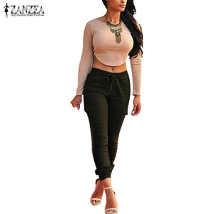 ZANZEA Women Pants 2016 Autumn Sexy Ladies Bodycon Leggings Skinny Pants Casual Elastic Waist Slim Trousers Plus Size S-4XL